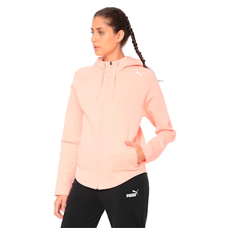 Evostripe Move Zip-Up Women's Hoodie, Peach Bud, small-IND