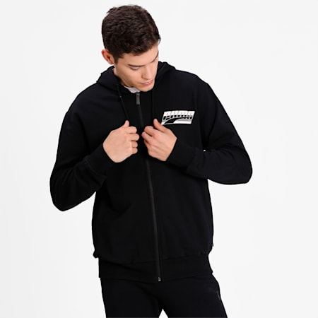 Rebel Men's Hooded Jacket, Cotton Black, small-IND