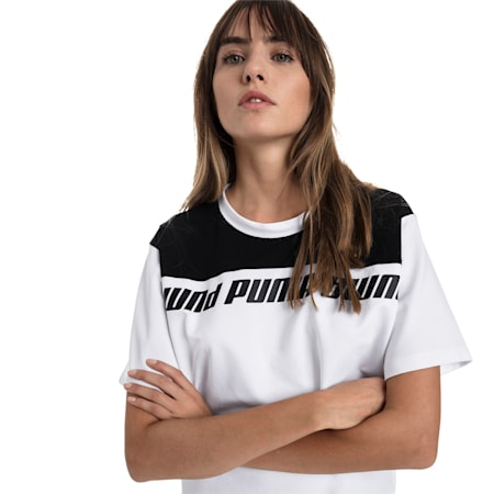 Modern Sport Damen Kurzes Sweat-T-Shirt, Puma White-Black, small