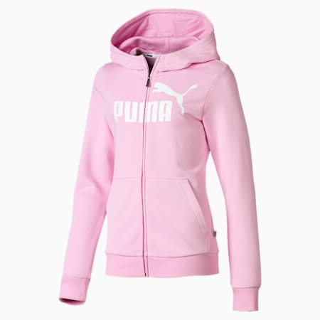 Essentials Full Zip Girls' Hoodie, Pale Pink, small-SEA