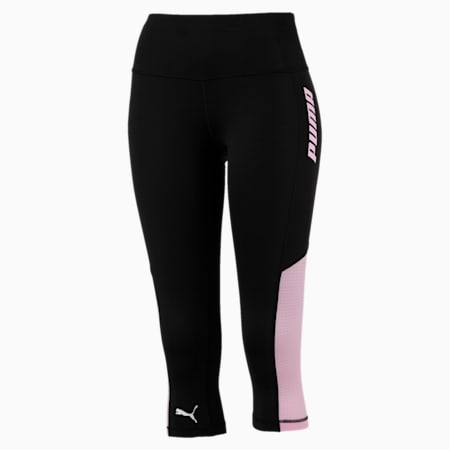 Modern Sports Women's 3/4 Leggings, Puma Black-Pale Pink, small-SEA