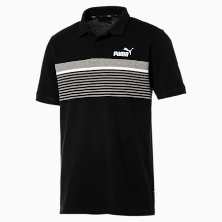 Essentials+ Stripe Polo, Cotton Black, small-IND