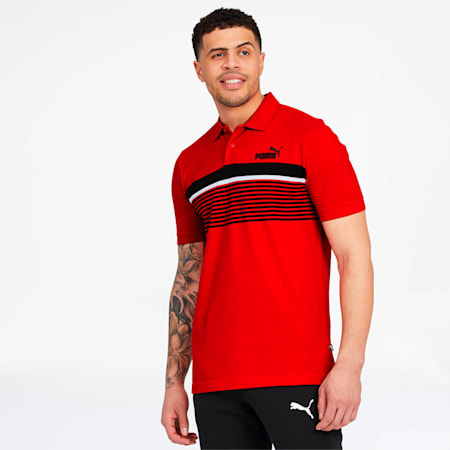 ESS+ Striped Men's Polo, High Risk Red, small