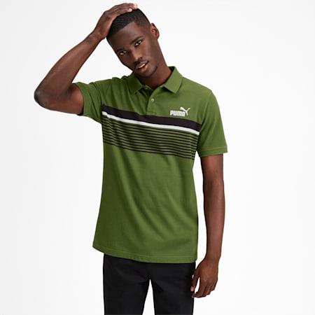 Camiseta tipo polo ESS+ Striped para hombre, Garden Green, pequeño