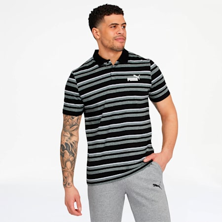 Camiseta tipo polo ESS+ Striped J para hombre, Cotton Black, pequeño