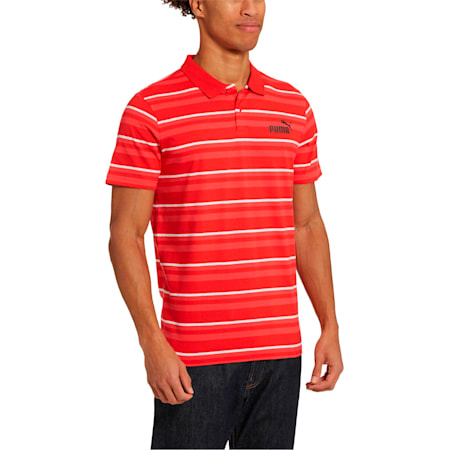 ESS+ Striped J Men's Polo, High Risk Red, small
