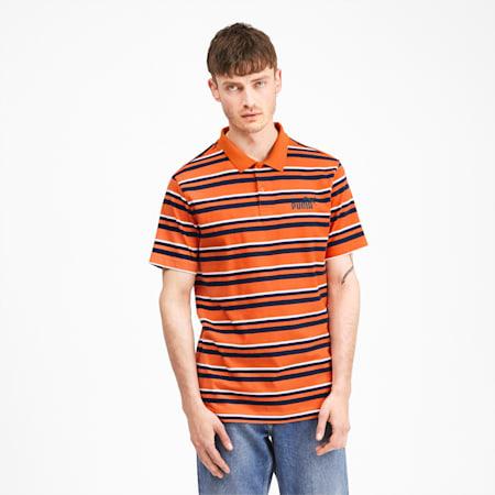 ESS+ Striped J Men's Polo, Jaffa Orange, small