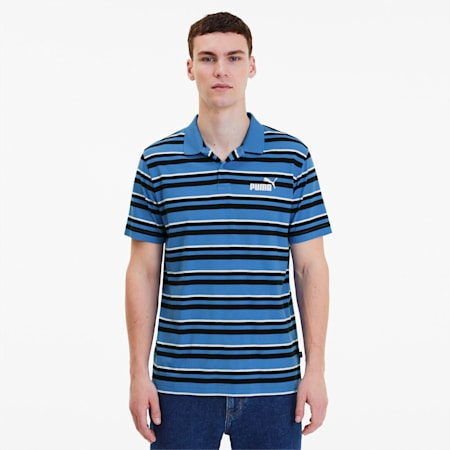 ESS+ Striped J Men's Polo, Palace Blue, small