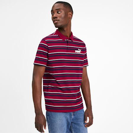 Camiseta tipo polo ESS+ Striped J para hombre, Rhubarb, pequeño