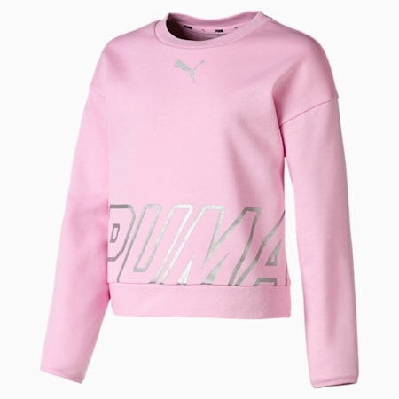 Alpha Crew Neck Girls' Pullover, Pale Pink, small