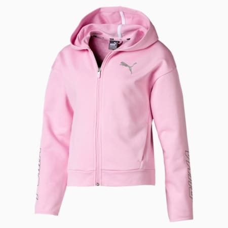 Alpha Hooded Girls' Sweat Jacket, Pale Pink, small