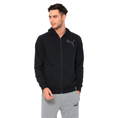 Active P48 Modern Sports Zip-Up Hooded Men's Sweat Jacket, Puma Black, small-IND