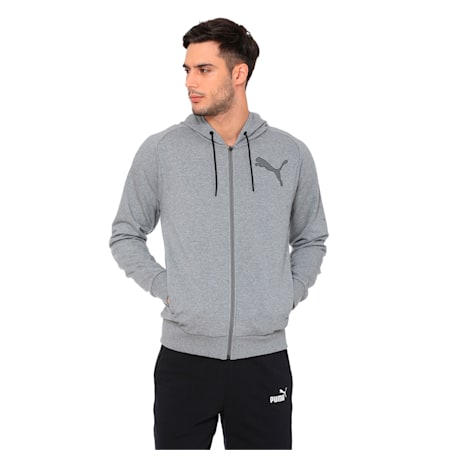 Active P48 Modern Sports Zip-Up Hooded Men's Sweat Jacket, Medium Gray Heather, small-IND