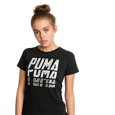 T-Shirt Font Graphic pour femme, Cotton Black, small