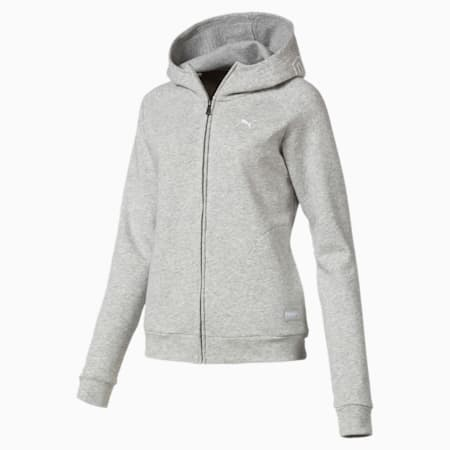 Athletics Hooded Women's Sweat Jacket, Light Gray Heather, small-IND