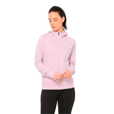 Athletics Hooded Women's Sweat Jacket, Pale Pink Heather, small-IND