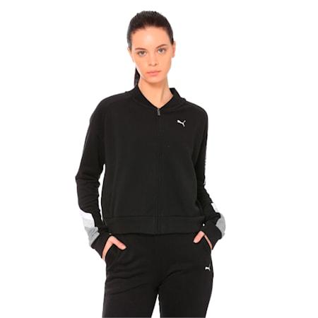 Athletics Women's Sweat Bomber Jacket, Cotton Black, small-IND