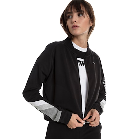 Athletics Women's Sweat Bomber Jacket, Cotton Black, small-SEA