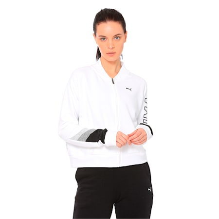Athletics Women's Sweat Bomber Jacket, Puma White, small-IND