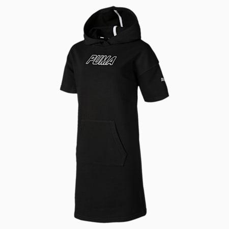 Alpha Hooded Girls' Sweat Dress, Cotton Black, small-SEA