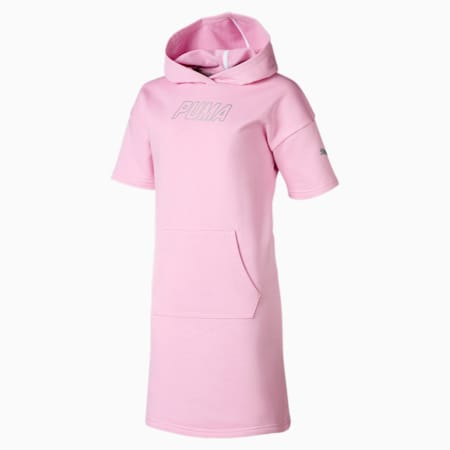 Alpha Hooded Girls' Sweat Dress, Pale Pink, small-SEA