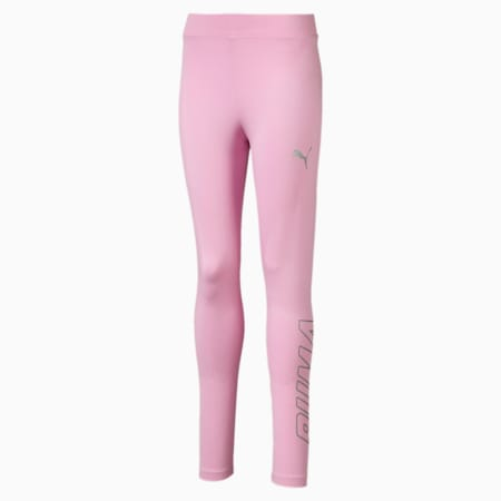 Alpha Girls' Leggings, Pale Pink, small