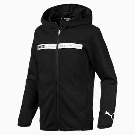 Boys' Active Sports Hooded Jacket, Cotton Black, small-SEA