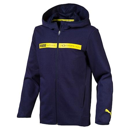 Boys' Active Sports Hooded Jacket, Peacoat, small-SEA