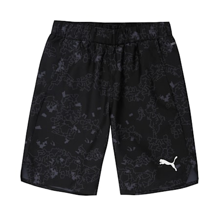 Active All-Over Printed Woven Boys' Shorts, Puma Black, small-IND