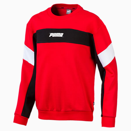 Rebel Crew Neck Boys' Sweater, High Risk Red, small