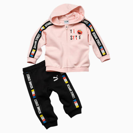 Sesame Street Hooded Baby Boys' Track Suit, Veiled Rose, small-SEA