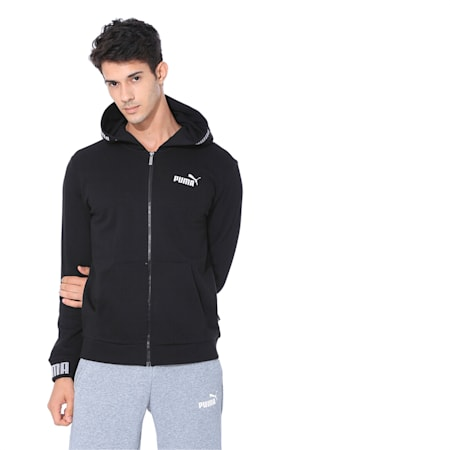 Amplified Hooded Men's Jacket, Cotton Black, small-IND