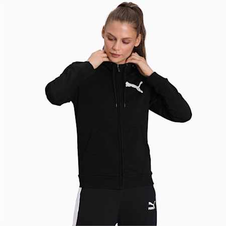 Women's Hooded Jacket, Cotton Black, small-IND