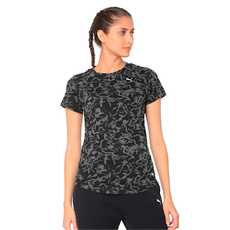 Fusion All-Over Printed Women's Tee, Cotton Black, small-IND