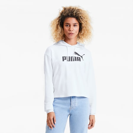 Essentials+ Women's Cropped Hoodie, Puma White, small