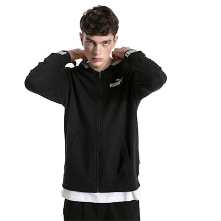 Amplified Hooded Men's Sweat Jacket, Cotton Black, small-SEA