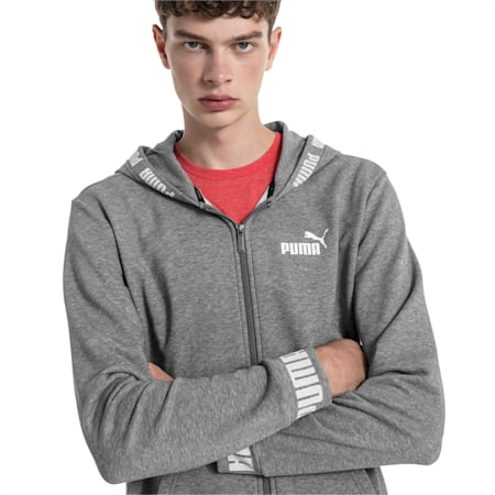 Amplified Hooded Men's Sweat Jacket, Medium Gray Heather, small-IND