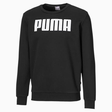 Essentials Fleece Crew Neck Men's Sweater, Cotton Black, small