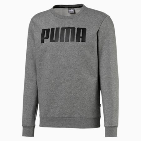 Essentials Fleece Crew Neck Men's Sweater, Medium Gray Heather, small