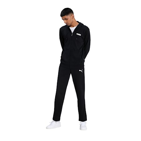 Essentials Full-Zip Training Men's Hoody, Cotton Black, small-IND