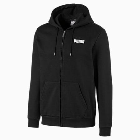 Essentials Full Zip Fleece Men's Hoodie, Cotton Black, small