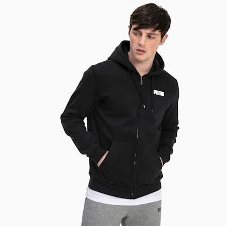 Sudadera con capucha de felpa con cremallera completa para hombre Essentials, Cotton Black, small