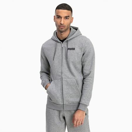 Essentials Full Zip Fleece Men's Hoodie, Medium Gray Heather, small