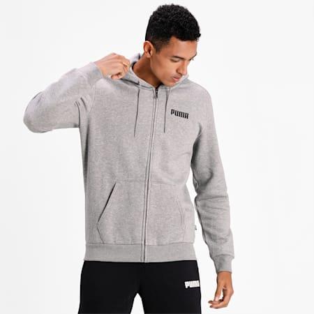 Essentials Full Zip Fleece Men's Hoodie, Medium Gray Heather, small-IND