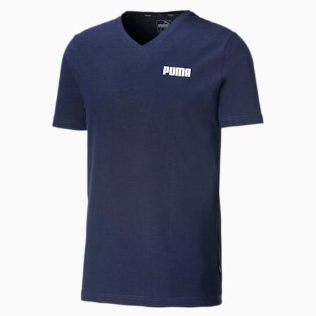 Elevated Essentials T-shirt met V-hals voor heren, Peacoat, small