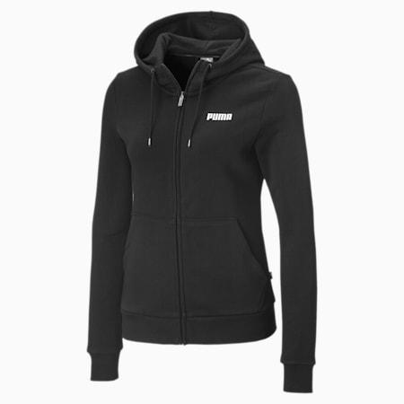 Essentials Full Zip Women's Hoodie, Cotton Black, small