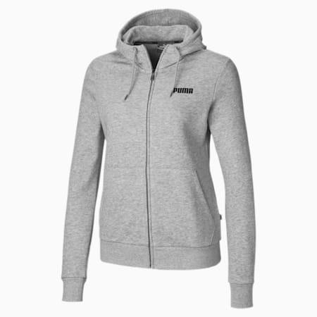 Essentials Full Zip Women's Hoodie, Light Gray Heather, small-SEA