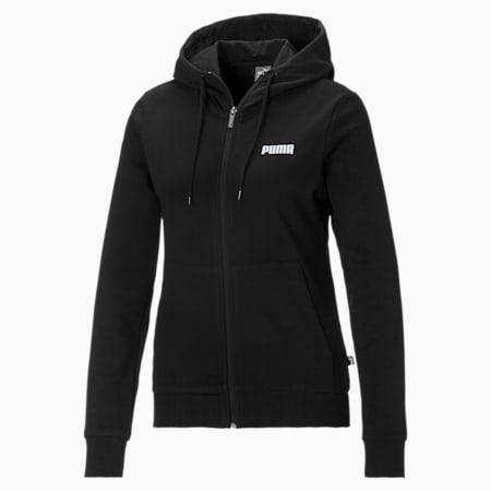 Essentials Full Zip Women's Hoodie, Puma Black, small