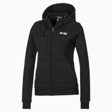 Essentials Full Zip Fleece Women's Hoodie, Cotton Black, small