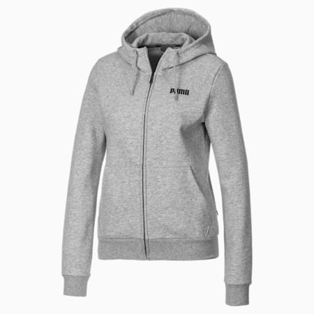 Essentials Damen Fleece Sweatjacke mit Kapuze, Light Gray Heather, small